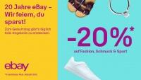 Happy sparen: zum 20. Geburtstag von eBay Deutschland 20 Prozent auf Fashion und Sport