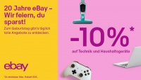 10 Prozent auf Elektronik-Artikel! Noch mehr Top-Deals zum 20. Geburtstag von eBay Deutschland