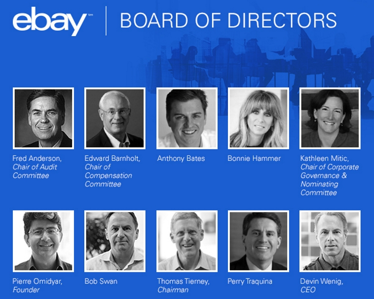 today ebay inc announced the directors who will serve on the boards