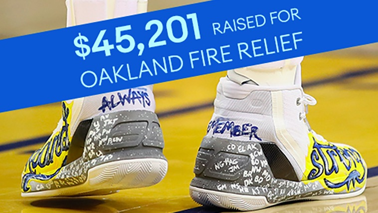 8751ca4e807 The best shooter in basketball and our charity team ran a charitable auction  after December s devastating warehouse fire in Oakland.